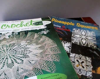 Pair Coats and Clark's 1950's Crochet Pattern Books Pineapple Squares and  Crochet Book 516