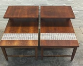 Lane Mid-Century Modern Walnut 2-Tier End Table Pair With Tile Inset - Great Mad Men / Eames Era Decor *SHIPPING NOT INCLUDED*