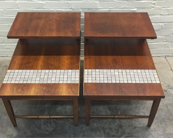 Pair Lane Monte Carlo Mid-Century Modern 2-Tier End Table With Tile Inset - SHIPPING NOT INCLUDED