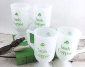 SUMMER SALE Set of 4 Vintage Irish Coffee Milk Glass Mugs