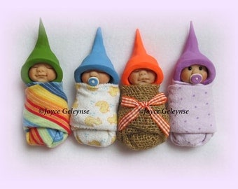 Clay Babies Art Print, Polymer Clay Swaddled Babies, OOAK, Group of Four Babies, Nursery Art, Midwife Office Decor, Maternity Ward Decor