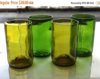 SALE TODAY ONLY Wine Bottle Drinking Glasses - Up-cycled from Used Wine Bottles - Set of 4