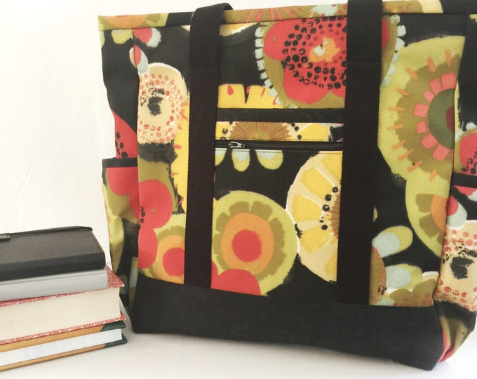 Black Large Tote Bag with Pockets, Kitchen Sink Tote, Professional Tote, Carry On, Diaper Bag, Travel Tote, Teacher Tote, Work Tote