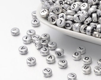 Letter Beads Alphabet Beads Silver Bulk Beads Wholesale Beads 100 pieces 7mm