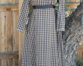 Regency Dress Homespun Plaid with Bottom Ruffle Empire Waist