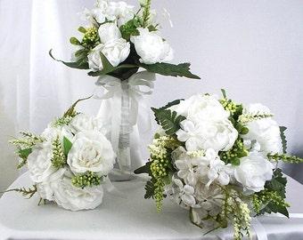 White bridal bouquet, White rose bouquet, Wedding bouquet set White bouquet Rose bridal bouquet package Silk flowers Bridal bouquet sets