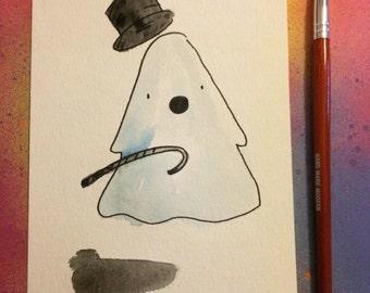"Halloween Watercolor Painting ""Old Timey Ghost"", 5x7 inches decoration."