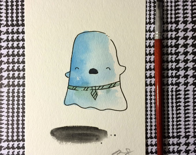 """Halloween Watercolor Painting """"Ghost With Tie"""", 5x7 inches decoration."""