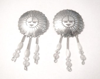SALE Vintage Navajo Sterling Silver Sun Face Earrings With Beaded Dangles