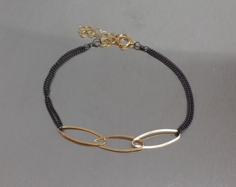 Dual Tone Three Link Bracelet (Gold)