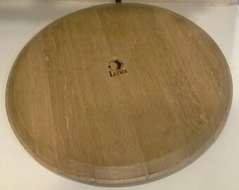Solid French Oak - Recycled Wine Barrel Head - Lazy Susan by Lunes wine barrel art