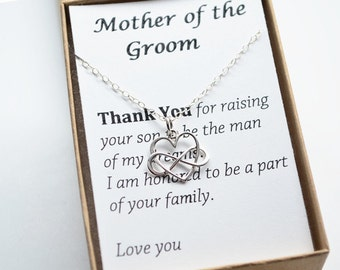 Mother Of The Groom Gift Necklace-Gift Boxed Jewelry Thank You Gift-Wedding Gift for Mother in Law-Sterling silver infinity heart necklace