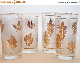 ON SALE Vintage Set of Four Libbey 12oz. Frosted Glasses with Gold Leaves  Mid Century Modern  Barware  Glassware  Bar Glass