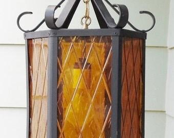 ON SALE Vintage Spanish Revival Swag Light, Lamp, Pendant Light, Hanging Light, Hanging lamp, Amber Plastic Panels