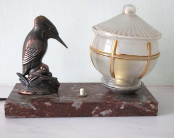 SIGNED TEDD - French Art Deco Kingfisher Bird Lamp Light on Marble 1940s - Excellent Condition - Exquisite Detail