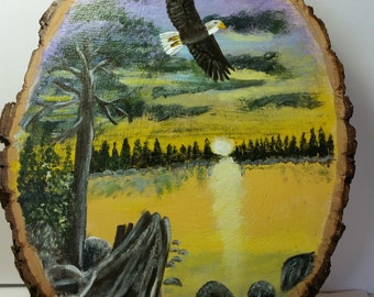Eagle Over lake Painting