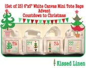 Advent Calendar Countdown to Christmas Holiday Trees Hanging Bags White Canvas Mini Totes Bags 6x5 Red Green Gift Bags Custom Design Welcome