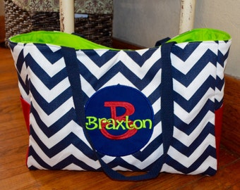 Handmade personalized diaper bag (navy blue chevron, red, lime green, and navy)