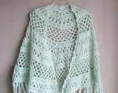 80% Off WINTER SALE Vintage 60s Boho Crochet Knit Mint Green Fringe Cape Shawl Coverup Christmas One Size Fits All
