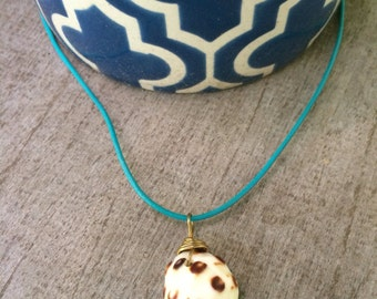 Hawaiian Drupe Shell Leather Necklace