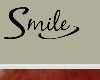 Wall Decal Quote Smile Inspirational Removable Home Sticker Decor (JR804)