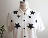 vintage black and white CELESTIAL STARS blouse