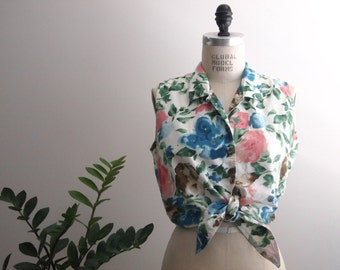 vintage 90s FLORAL button up collared blosue
