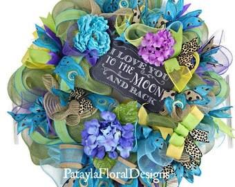 Peacock Wreath, Summer Wreath, Mesh Wreath, Hydrangea Wreath, Everyday Wreath, Mantel Wreath, Blue Wreaths, Indoor Wreath, Outdoor Wreath,
