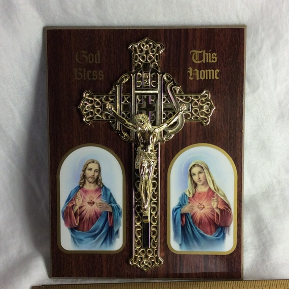Wall Decor Jesus : Vintage scared heart mary and jesus with cross wall decor