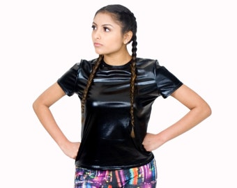 Faux Leather T Shirt Black Metallics Holographic Tops Liquid Leather