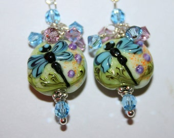 Whimsical Dragonfly Lampwork Bead Dangle Earrings with Swarovski Crystals