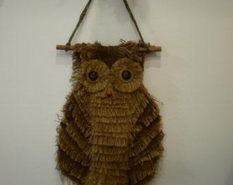 Vintage Hand Made Mid Century Burlap Owl Wall Hanging