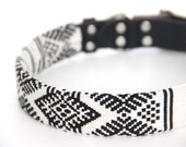 Dog Collar Sleeve // Black and White Ikat // SLEEVE ONLY