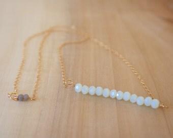 Light BlueGreen Stand Gold Fill Necklace