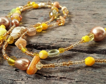 Long beaded Necklace yellow, yellow, long necklace, beaded necklace, long beaded necklace, gift for her, yellow necklace, boho necklace