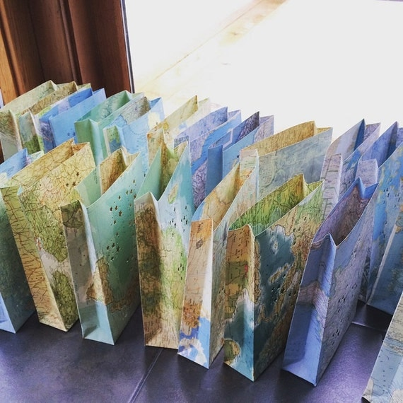 10 Map Luminary Bags Travel Theme Decor Made to Order Map