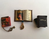 Nightmare Room Open Book, Closed Book w Key & Stack of 2 Books