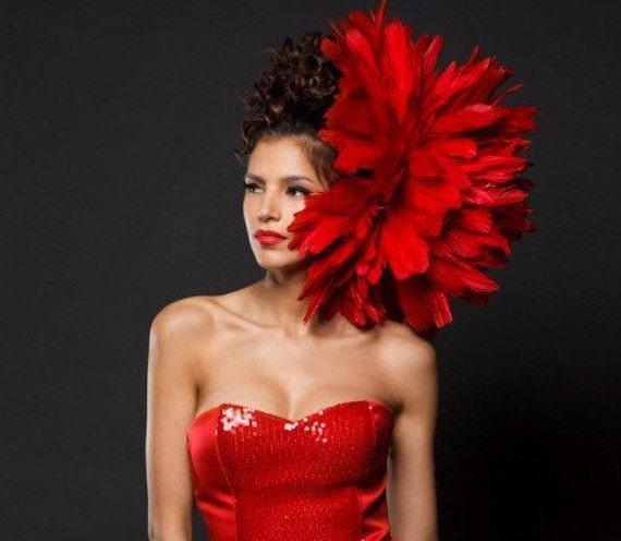 """Irina Shabayeva  """"PEONY"""" feather headpiece."""