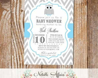 Gray and Blue Owl Chevron Baby Shower Birthday or Gender Reveal Invitation - colors can be changed