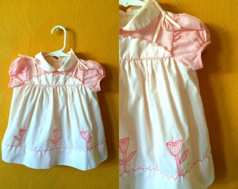Vintage pink tulip/gingham baby girl dress, easter dress,spring dress, party dress, apron dress Size 6/12M