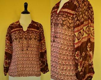 Vtg 70's India NWT Boho Earthy floral block print sheer muslin cotton gauze long poet sleeve XS/S tunic / top / blouse