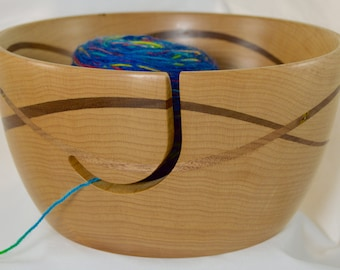 868 Yarn bowl, made from Maple with a double wave of Black Walnut