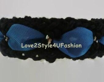 Statement Bracelet - Womens Crochet Bracelet - Crochet Jewelry - Woven Bracelet - Chain Silver - Black Bracelet - Mix Media Jewelry - Chain