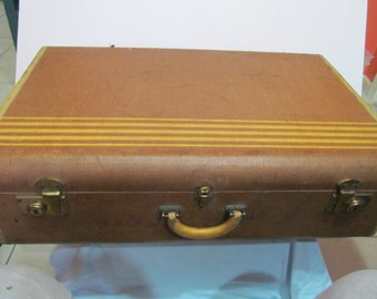 """Old Wilt Co. Tan Tweed Hard Side Suitcase Luggage 28.5 x 18""""Home Decor"""