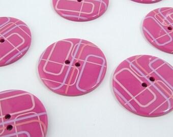34mm Retro Square Design Buttons (5pk) [B0414]