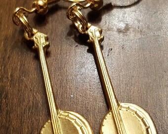 Banjo Earrings - Gold Plated Earwires - Bluegrass
