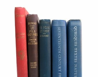 French Books / Book Decor / Instant Library / French Decor / Book Bundle / Wedding Decor / Photo Prop / Decorative Books / Home Decor