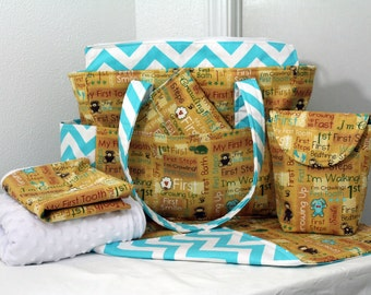 Chloe XL Diaper Bag Set w/ Wet Bag- Your Choice of Any Fabric- Made to Order
