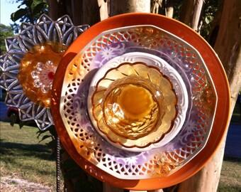 Glass Garden Flower-Golden Peach-Recycled Garden Decor