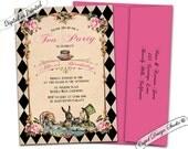 Alice in wonderland invitation printable/Alice and wonderland invitation/Mad hatter invitations/Alice in wonderland invite. Tea party.